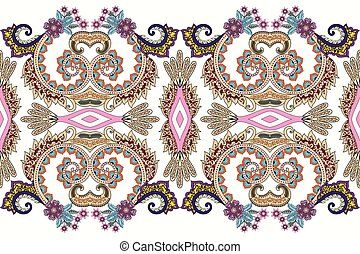 seamless colorful  wide border with decorative  swirls,  pink  flowers