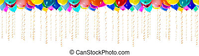 seamless, colorido, balões, com, streamers, para, partido, ou, bithday, isolado
