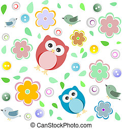 seamless, colorido, coruja, padrão, para, crianças