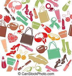 seamless, colorido, patrón, con, mujer, cosas