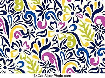 seamless, coloridos, floral, fundo