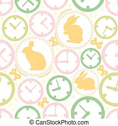 SEAMLESS COLOURFUL CLOCK WITH RABBIT PATTERN BACKGROUND , WONDERLAND THEME