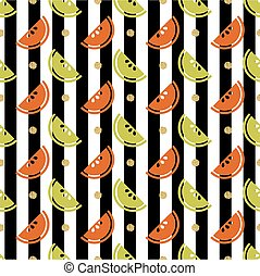 seamless colourful fruit with gold glitter dot pattern on stripe background