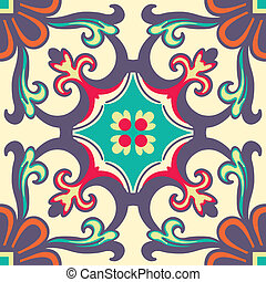 Seamless Colourful Ornament Tiles - Background vintage...
