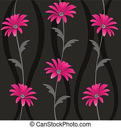 seamless, com, padrão floral