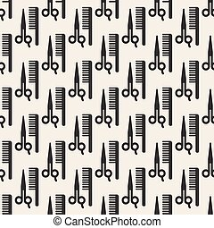 seamless comb and scissors pattern background