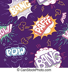 Seamless Comic Book Explosion, Bombs And Blast Set.  bubbles for speech, different sounds and arrows vector