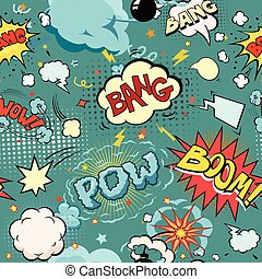 Seamless Comic Book Explosion, Bombs And Blast Set.  bubbles for speech, different sounds and arrows.