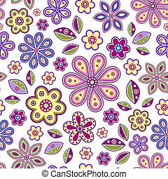 seamless, con, flores coloridas