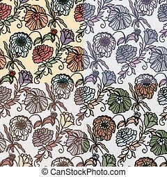 seamless, con, vendimia, floral, pattern.