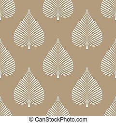 seamless, conception, vecteur, feuilles, modèle