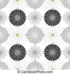 seamless confetti monochrome flower with gold and silver dot pattern on white background