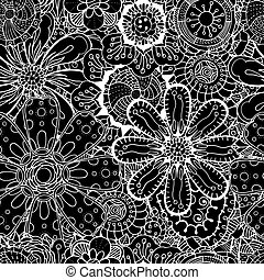 Seamless Contour Floral Pattern. Vector Illustration. Hand...