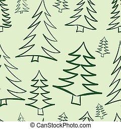 Seamless contours of fir-trees