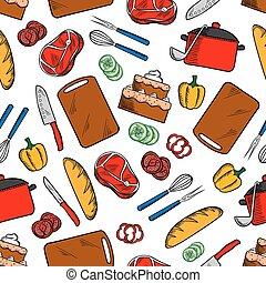 Seamless cooking dinner sketched pattern