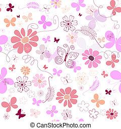 seamless, cor-de-rosa, padrão floral