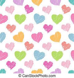 seamless, corações, padrão