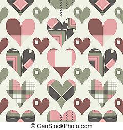 seamless, corações, retro, padrão