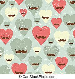 seamless, corazón, valentine, mustache., patrón