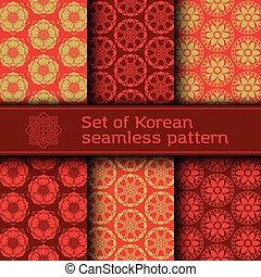 seamless, coreano, vetorial, padrão, jogo