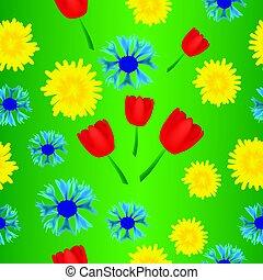 seamless, cornflower, tulipa, padrão, dandelion
