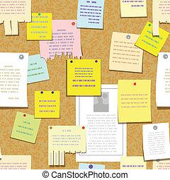 seamless, cortiça, placa boletim, com, notas, anunciar