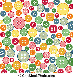 seamless, cosendo, botões, padrão