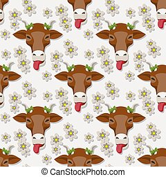 Seamless cow cartoon face flowers pattern on white background. Vector image