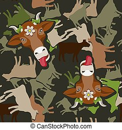 Seamless cow face silhouette pattern on dark green background. Vector image