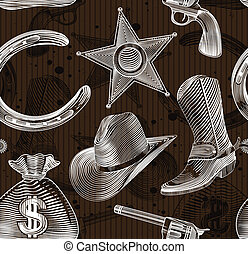 seamless cowboy pattern in engraving style - vector...