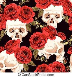 seamless, crânios, e, rosas