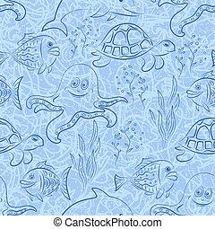 seamless, créatures mer
