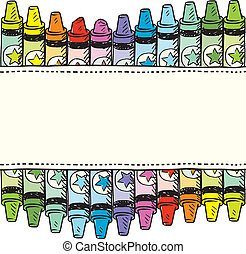 Seamless crayon border - Doodle style colorful crayon...