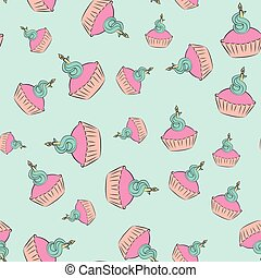 Seamless cream cupcake pattern with blue background