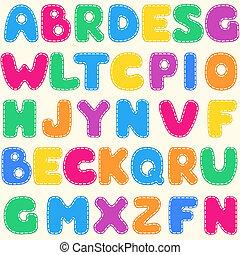 seamless, crianças, luminoso, alfabeto, padrão