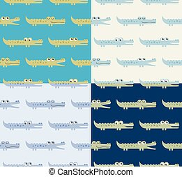seamless crocodile cartoon pattern