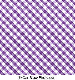 Seamless cross weave gingham pattern design in purple and white for arts, crafts, fabrics, picnics and decorating, scrapbooks. EPS8 includes pattern swatch that will seamlessly fill any shape.