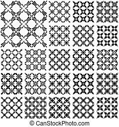 Seamless geometric patterns. Designs set with cross elements. Vector art.