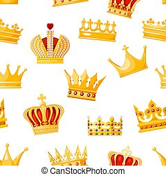 Seamless crown monarchs on a white background. Isolated regalia of the king, queen, princess, prince. Subjects of coronation and power. Vector illustration
