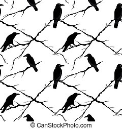 Seamless crows and tree branches. Vector