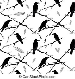 Seamless crows, tree branches and feathers. Vector