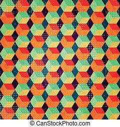 seamless, cubos, grunge, coloreado, efecto
