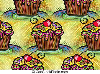 seamless, cupcake, achtergrond, ontwerp