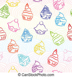 Seamless cupcake background
