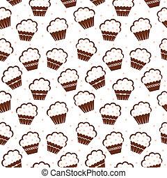 Seamless cupcake pattern - Vector illustration. It is...