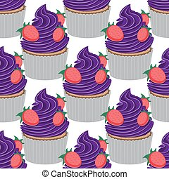 Seamless cupcake pattern with strawberries on a white background. Vector image