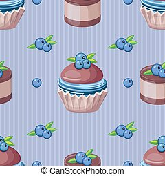 Seamless cupcake vector pattern