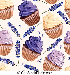 Seamless cupcakes and flowers