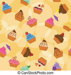Seamless cupcakes background