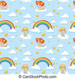 Seamless cute angel with rainbow and star pattern